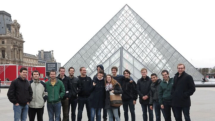 ATHENS students in front of the Louvre in Paris