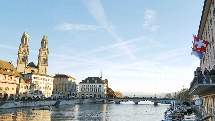 View of Zurich's old town with the Limmat River