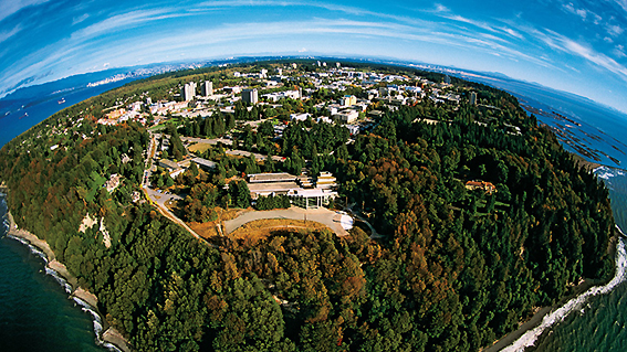 Aerial shot of the UBC campus in Vancouver